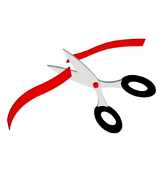scissors and red ribbon vector image vector image