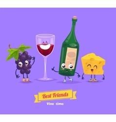 Set of breakfast characters cute cartoons vector image vector image