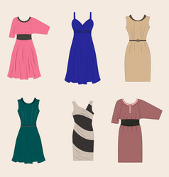 Set of different styles women dresses vector