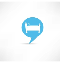 sleeping man in blue speech bubble vector image