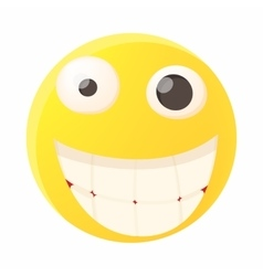 Smiling emoticon with white teeth icon vector image vector image