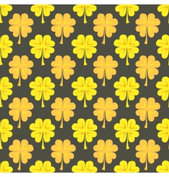 St patrick day gold clover seamless pattern vector