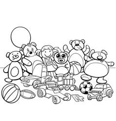 Toys group cartoon coloring book vector