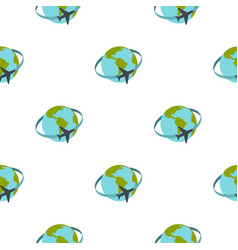 Travelling by plane around the world pattern flat vector