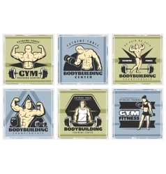 Vintage body building poster set vector