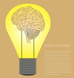 Vintage style of Brain in light bulb idea vector image