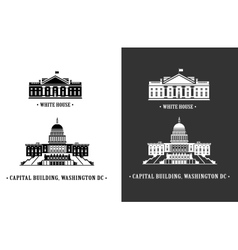 white house and capitol building in washington vector image vector image