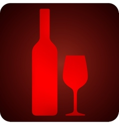 with bottle and wineglass bar sign vector image