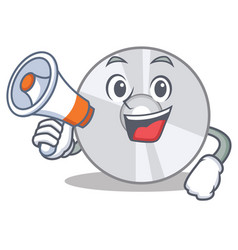 With megaphone cd character cartoon style vector