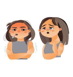 Woman having flu fever sore throat vector