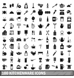 100 kitchenware icons set simple style vector image