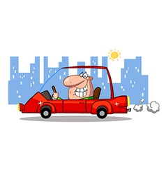 Grinning man driving a red car in the city vector