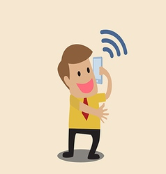 Businessman use smart phone with wifi symbol vector image