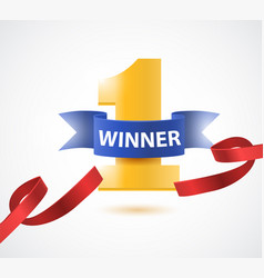 winner number one background with red ribbon vector image