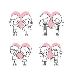 Happy friendship children icons set vector