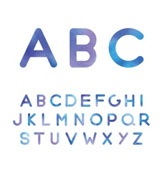 Picturesque alphabet in blue shades vector