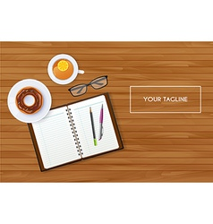 Scene with notebook and tea vector image
