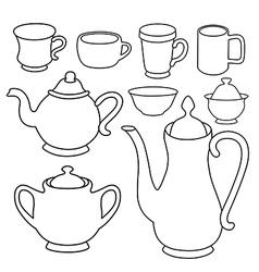 Simple coffee tea crockery silhouette set vector image