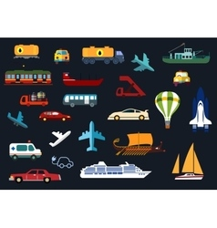 Flat icons with road water rail air transport vector image