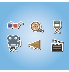 color icons with cinema symbols vector image