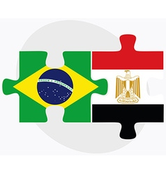 Brazil and Egypt Flags vector image