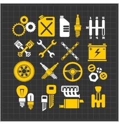 Car part icons set on a dark background vector