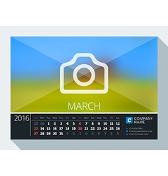 March 2016 stationery design print template desk vector