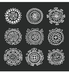 Circle shape floral folk ornament vector