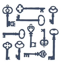 Hand drawn vintage keys collection vector