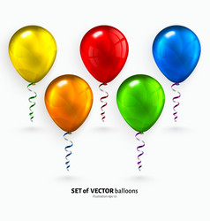 Set of colorful flying balloons with streamers vector