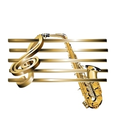 Treble clef stave 3d gold and saxophone vector