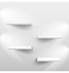 Shelves with shadow in empty white room vector