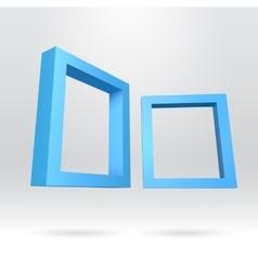 Two blue rectangular 3d frames vector