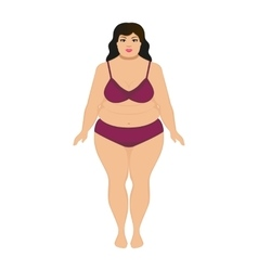 Beautiful cartoon fat woman vector