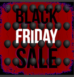 black friday sale poster with balloons on red vector image vector image