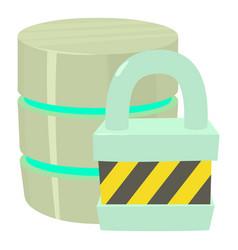 Blocked database icon cartoon style vector