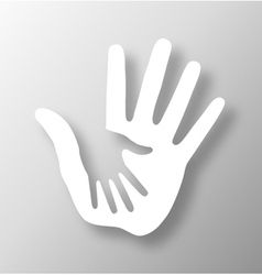 Caring hand applique vector