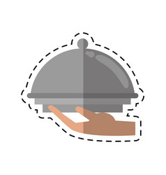 Cartoon hand tray catering service vector
