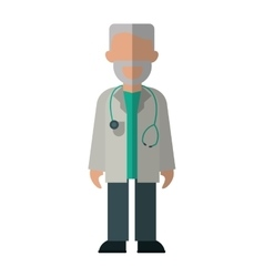 Character doctor beard stethoscope health vector