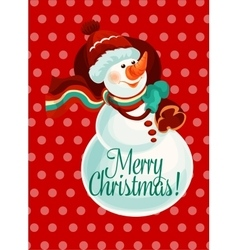 Christmas snowman with gift bag for card design vector image