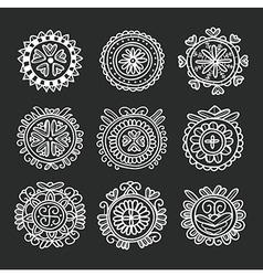 Circle shape floral folk ornament vector image