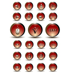 Collection of red glossy buttons vector image