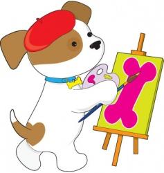 cute puppy artist vector image vector image