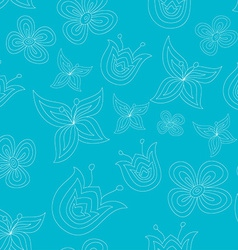 Cute seamless pattern with doodle flowers vector image vector image
