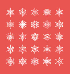 cute snowflakes collection isolated on red vector image