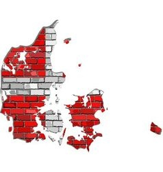 Denmark map on a brick wall vector