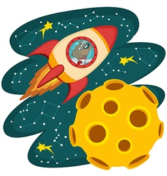 Dog cosmonaut flying on rocket to moon vector