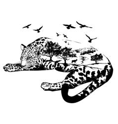 Double exposure Hand drawn jaguar vector image