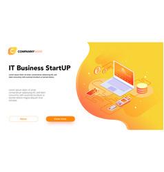 financial business isometrics banner orange vector image
