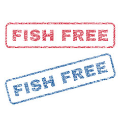 Fish free textile stamps vector
